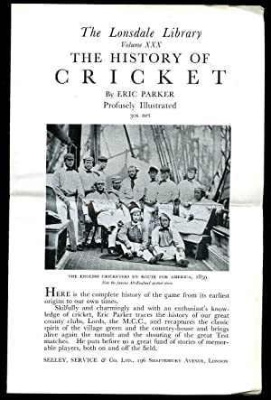 The Lonsdale Library of Sports, Games and Pastimes Volume XXX: The History of Cricket + ...