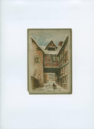 Christmas Card with Frederick Langbridge Poem and E. Hay Colour Artwork Showing the Back of Rowleys...