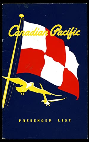 Canadian Pacific Passenger List for Empress of England From Montreal Thursday August 9th 1962 To ...