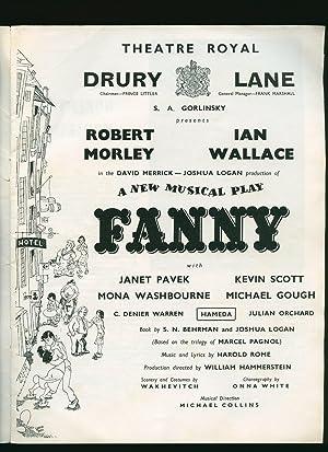 Fanny; A New Musical Play: Souvenir Theatre: S. N. Behrman,