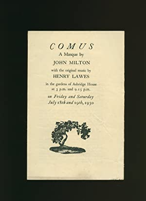 Comus A Masque by John Milton: Souvenir Programme Performed by the Ashridge Players in the Gardens ...