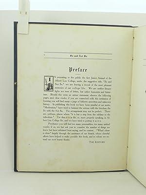SO AND NOT SO 1909 [Volume I, Albert Lea College]: Merry, Mabel et al (editors)