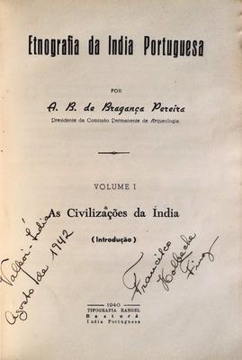 ETNOGRAFIA DA INDIA PORTUGUESA.: BRAGANÇA PEREIRA. (A.