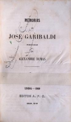 MEMÓRIAS DE GARIBALDI.: DUMAS. (Alexandre)