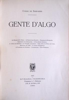 GENTE D`ALGO.: SABUGOSA. (Conde de)
