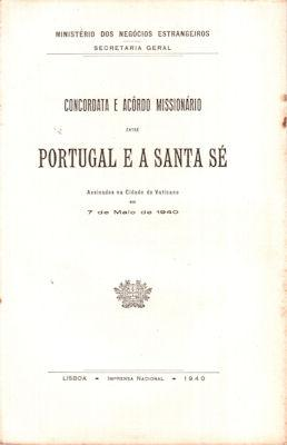 CONCORDATA E ACÔRDO MISSIONÁRIO ENTRE PORTUGAL E