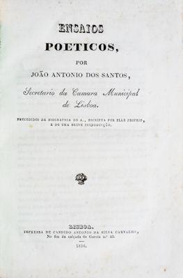 ENSAIOS POETICOS - AS ÉPOCAS DA NATUREZA.: SANTOS. (João António