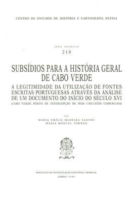 SUBSÍDIOS PARA A HISTÓRIA GERAL DE CABO: MADEIRA SANTOS. (Maria