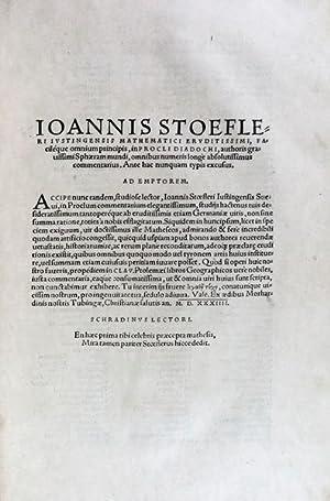 IOANNIS STOEFLERI IUSTINGENSIS [SPHAERAM MUNDI]: STOEFLER, Ioannis.
