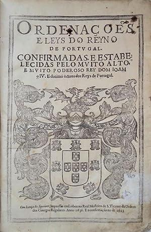 ORDENAÇÕES E LEYS DO REYNO DE PORTUGAL.