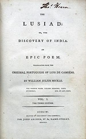 THE LUSIAD OR, THE DISCOVERY OF INDIA.: CAMÕES. (Luís de)