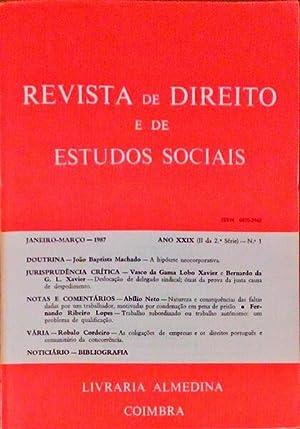 REVISTA DE DIREITO E DE ESTUDOS SOCIAIS.: LOBO XAVIER. (Bernardo