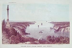 Niagara river looking towards lake Ontario -: NIAGARA) - LITHOGRAPH
