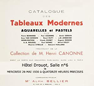 Catalogue des tableaux modernes, aquarelles et pastels provenant de la Collection de M. Henri Can...