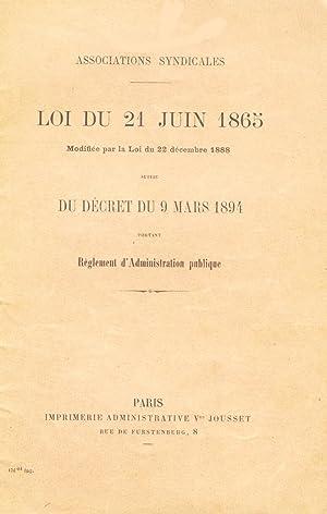Associations Syndicales, Loi du 21 Juin 1865,: Collectif