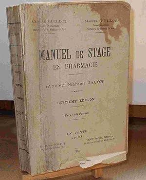 MANUEL DE STAGE EN PHARMACIE - ANCIEN: GUILLOT Camille et