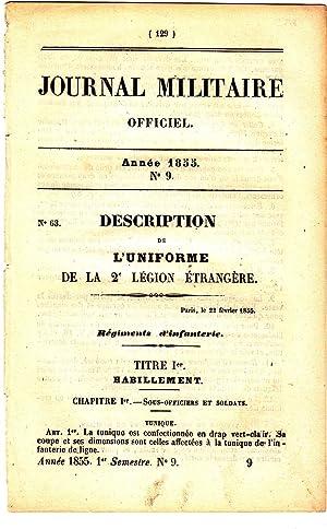 JOURNAL MILITAIRE OFFICIEL N°9/1855. L'uniforme de la