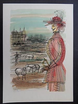 Vingt (20) Fables - with 82 signed woodcuts by COCTEAU, Bernard BUFFET, FOUJITA, VILLON, CARZOU.: ...