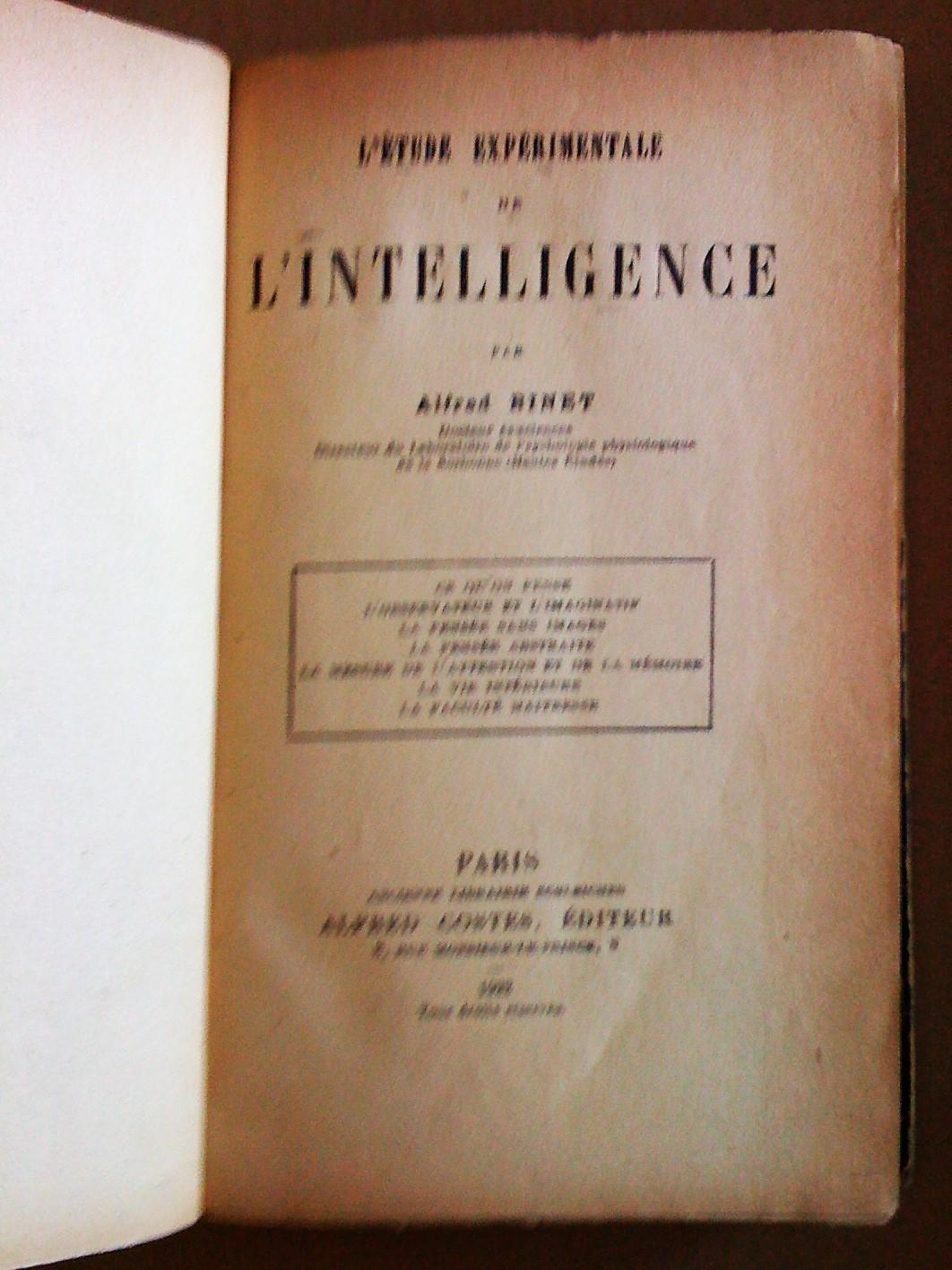 L'étude expérimentale de l'intelligence. (1903) - Alfred Binet