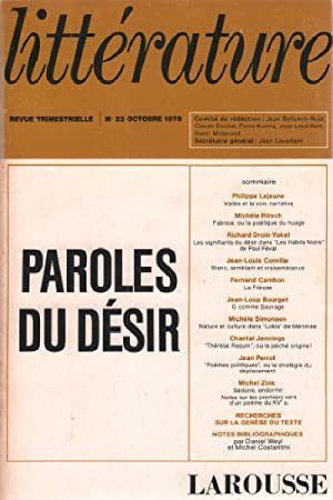 Revue trimestrielle litterature n° 23 / paroles du desir