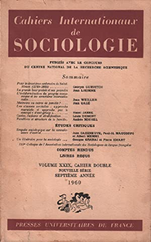 Cahiers internationaux de sociologie / volume XXIX