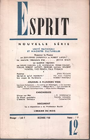 Revue esprit décembre 1968 / repenser la france, la question régionale