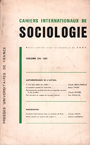 Cahiers internationaux de sociologie /volume LIV