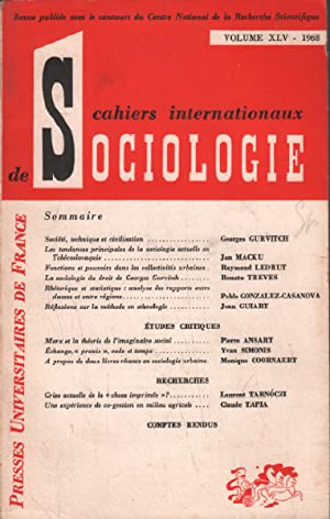 Cahiers internationaux de sociologie /volume XLV : Gurvitch georges : société technique et civili...