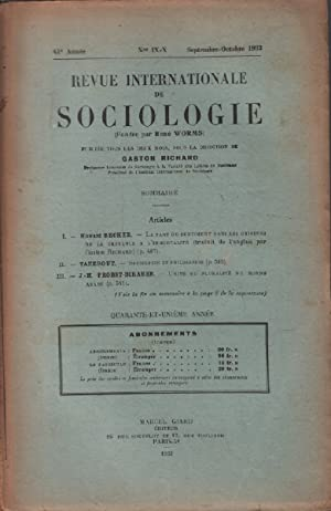 Revue internationale de sociologie / septembre -octobre 1933 / becker : la part du sentiment dans...