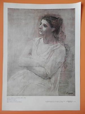 Lámina en color con títulos en ruso: Pablo Ruiz Picasso
