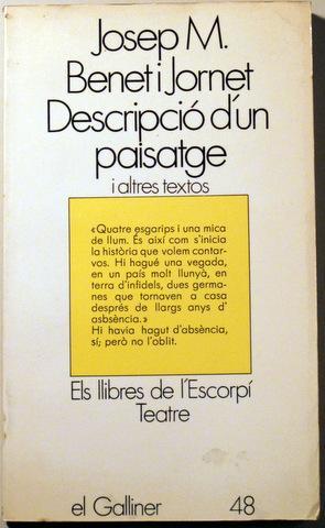 DESCRIPCIÓ D'UN PAISATGE - Barcelona 1979: BENET I JORNET,