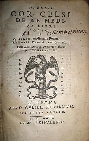 De Re Medica. Libri Octo. Q. Sereni: CELSUS, Aurelio Cornelio.