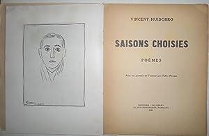 Saisons choisies. Poèmes. Avec un portrait de l'auteur par Pablo Picasso.: HUIDOBRO, Vicent.