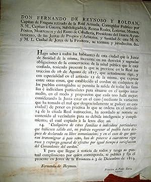 DON FERNANDO de Reynoso y Roldán, Capitán de Fragata retirado de la Real Armada,… Presidente del ...