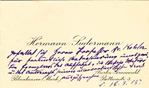 Autograph letter signed, with inscribed calling card;