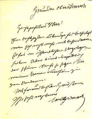 "Autograph letter signed; ""Karl Goldmark,"" to ""Hochgeehrter Herr,"" no date: Goldmark..."