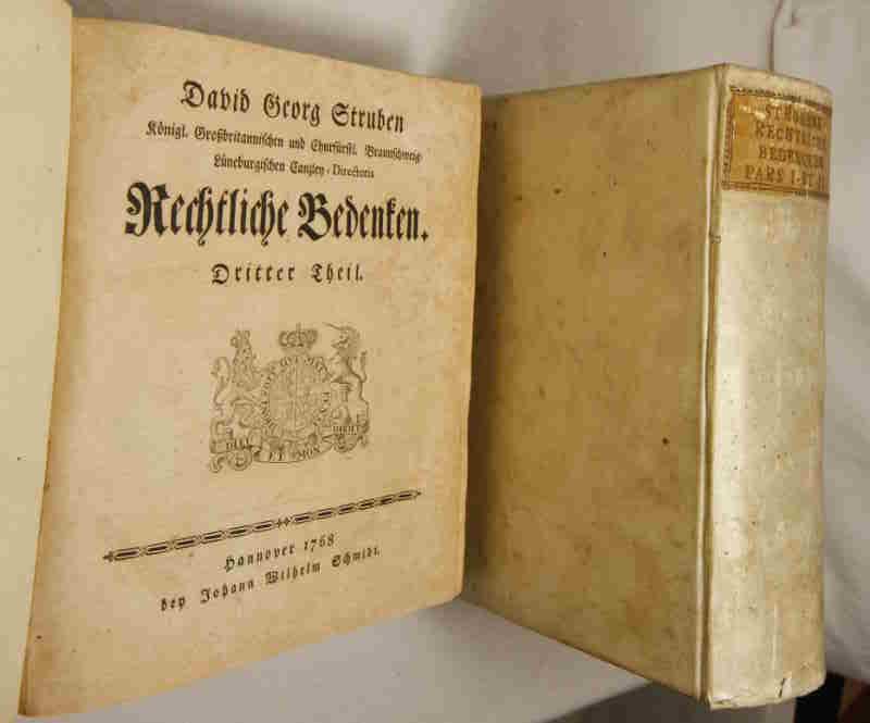 Rechtliche Bedenken. Teil 1-4 in zwei Bänden.: Struben, David Georg