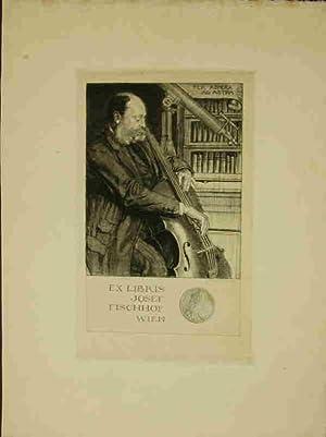 Ex Libris Josef Fischhof Wien. Ganzfigur nach dreiviertelrechts des Eigners als Cellospieler, ...