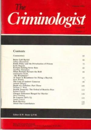 THE CRIMINOLOGIST. Volume 18 No. 2 Summer: Stone (R.W.) Ed.