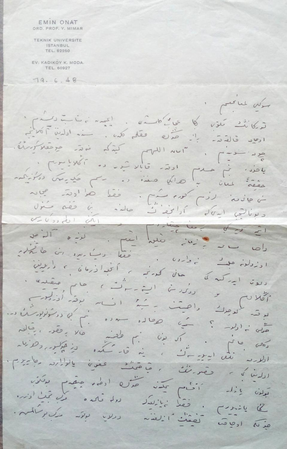 MODERN TURKISH ARCHITECTURE] [Autograph letter signed Emin Onat]  by