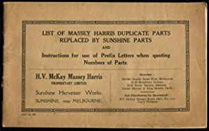 List of Massey Harris duplicate parts replaced: H. V. McKay