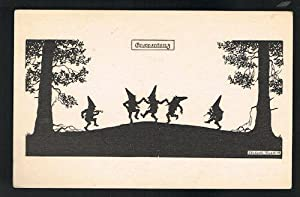 Gnome Dance Postcard - Gnomes & Elves Silhouette Series