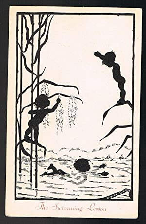 The Swimming Lesson Silhouette Postcard