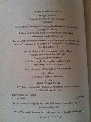 The Death Of Vishnu (1st edition/1st printing): Manil Suri