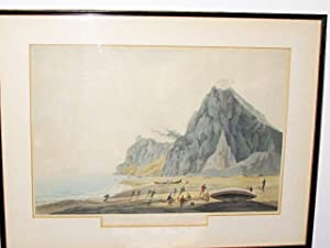 FRAMED AQUATINT: VIEW OF GIBRALTAR TO THE EAST CEUTA AND SANDY BAY: Fisher, G. B. & Edy, J. W