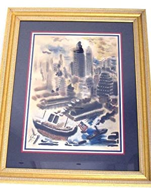 LITHOGRAPH: MANHATTAN (WATERCOLOR ON LITHO) HAND SIGNED: Grosz, George