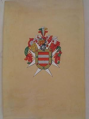 Escudo heráldico del apellido Alcain [Dibujo iluminado original]