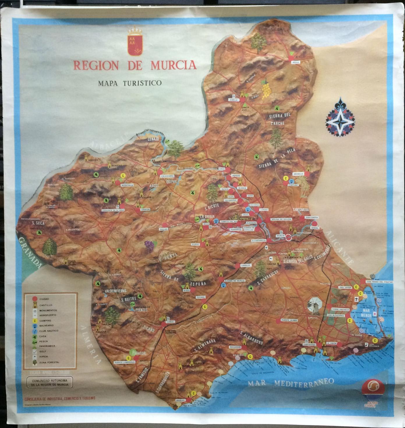 Mapa Region De Murcia.Cartel Region De Murcia Mapa Turistico