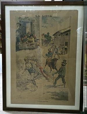 CARTEL DE LA LIDIA - COSTUMBRES VALENCIANAS - VALENCIA 1892 - ENMARCADO