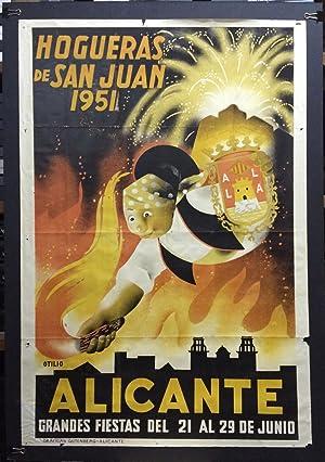 CARTEL DE HOGUERAS DE SAN JUAN - ALICANTE 1951 - ILUSTRADO POR OTILIO - ENMARCADO